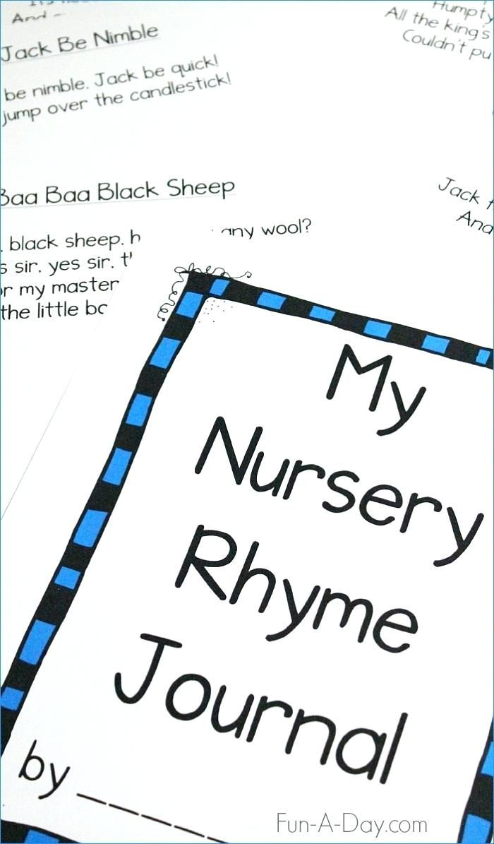 Nursery Rhyme Printable Preschool Rhymes Journal Includes