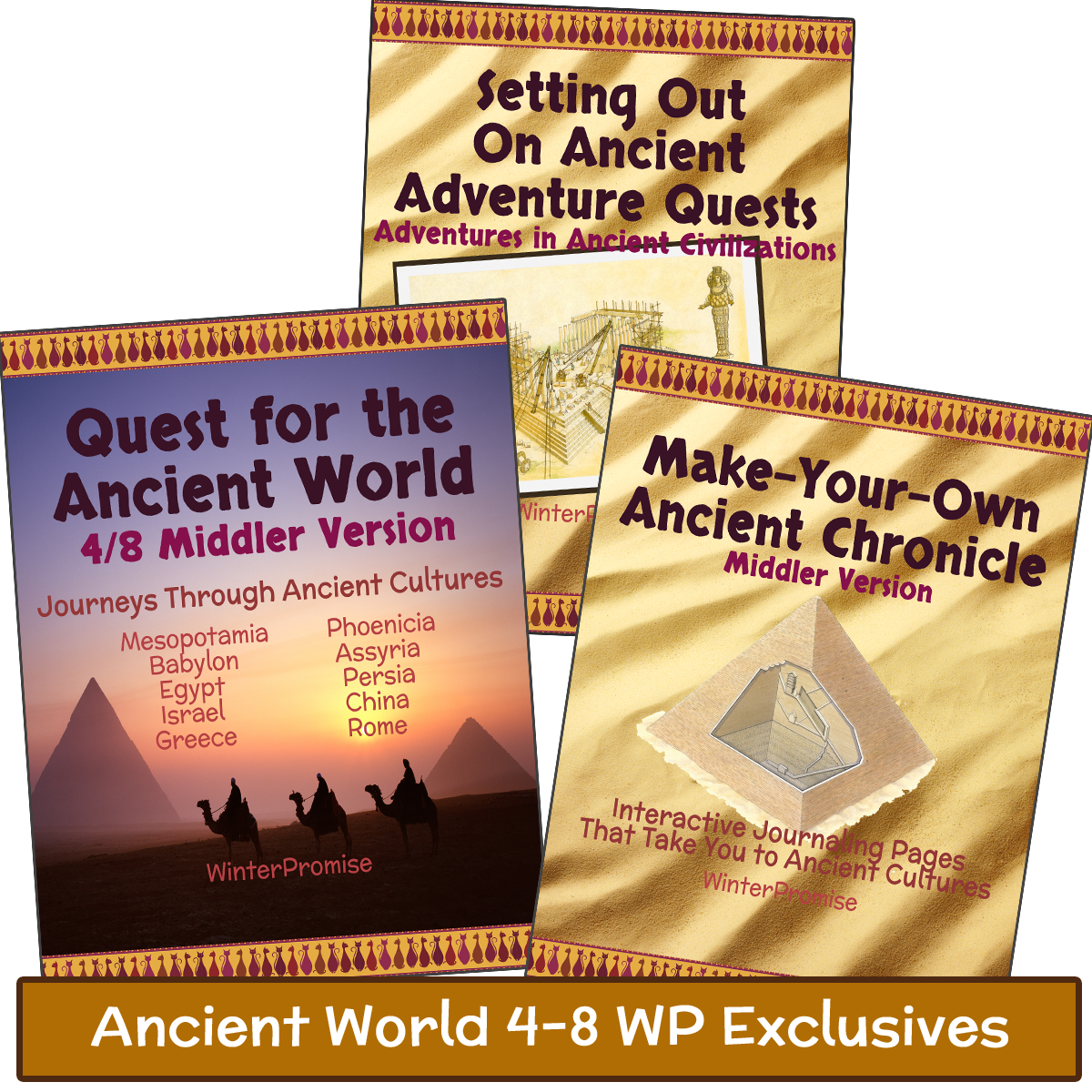 """Choose Your Ancient 4/8 """"Heart & Soul"""" Resources The Exclusive Resources Around Which the Program is Built Click Into Each Resource to See What This Exclusives Print Bundle Includes: PRINT: Quest for the Ancient World 4/8 Guide PRINT: Setting Out On Ancient Adventure Quests PRINT: """"Make-Your-Own"""" Ancient Chronicle Notebook"""