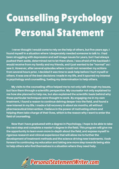 Counselling Psychology Personal Statement Sample Grad School Example Counselor Mission