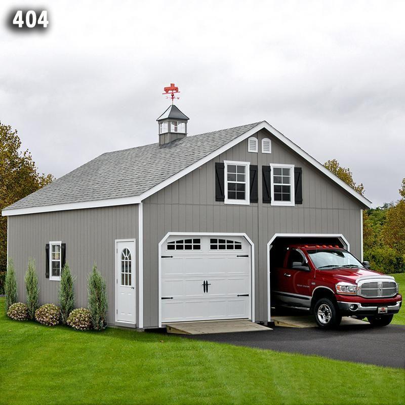 24x24 2 Car 2 Story Garage AFrame Roof Carriage Doors