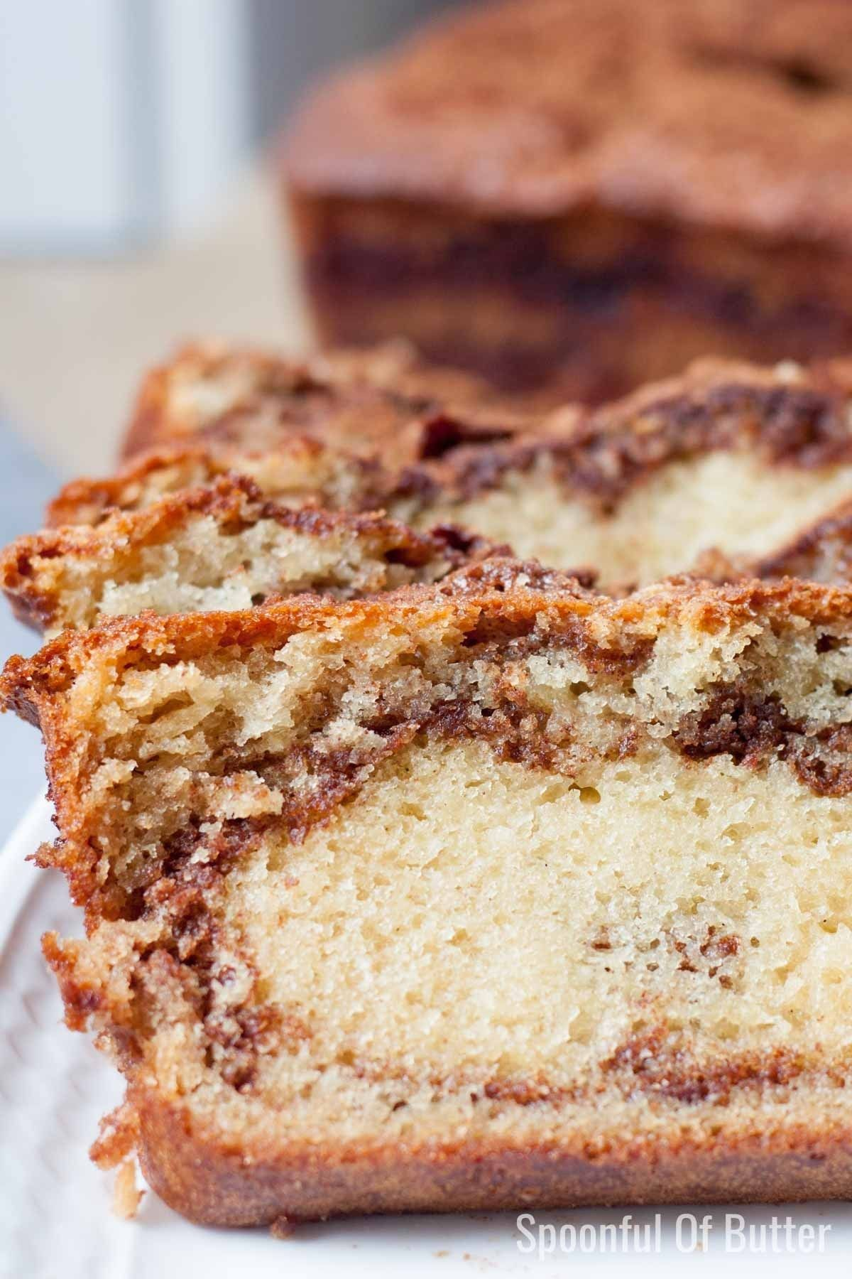 Simple and easy Cinnamon Loaf Breadrecipe - no buttermilk needed and stays moist and delicious for several days!This makes a tasty, quick bite for breakfast or when hunger strikes any time of the day. #cinnamon