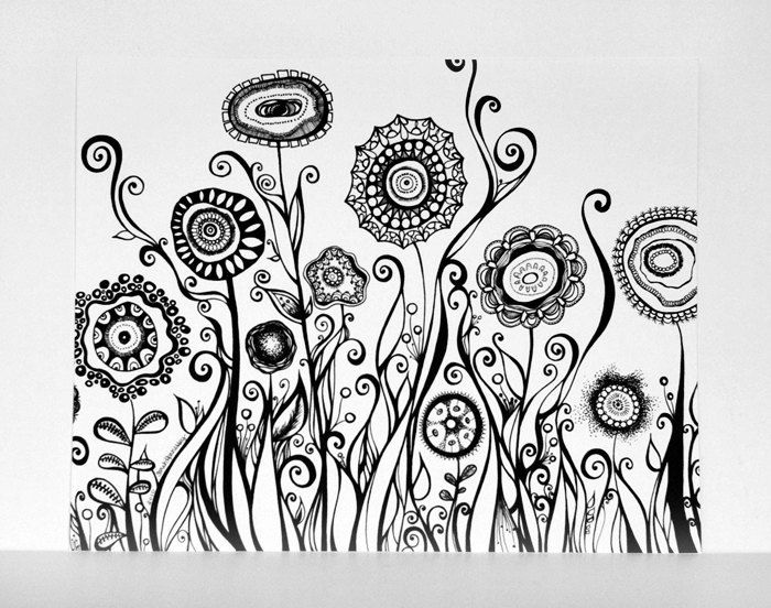 Hand drawn flowers swirling garden 8x10 black and white fine art print modern art pen line drawing abstract botanical illustration