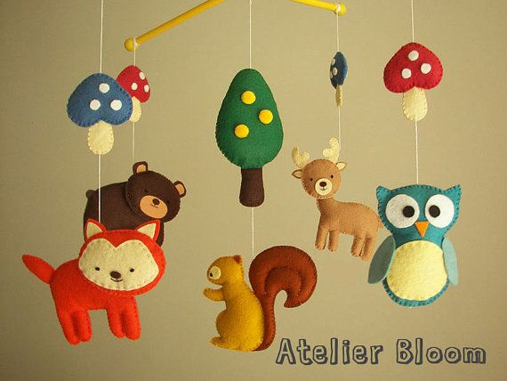 Baby crib mobile forest mobile animal mobile  by atelierbloom, $85.00