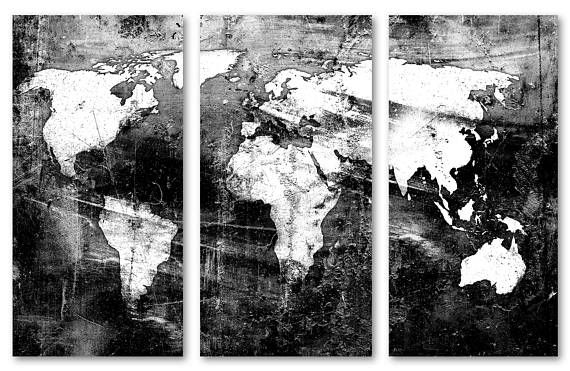 Black white world map canvas print wall art 3 panel split black white world map canvas print wall art 3 panel split gumiabroncs Image collections