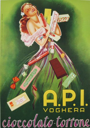 A.P.I. Cioccolato -Torrone original advertisement lithography vintage poster from 1950 Italy. Shows a woman in green dress holding (hugging) so many candies they are falling around her.