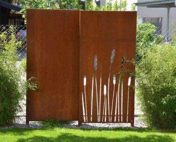 PARAS Sichtschutzwand Corten Motiv Rohrkolbenschilf