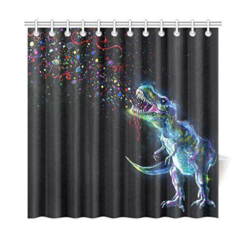 Interestprint Dinosaur In Space Shower Curtain Fabric Shower Curtains Bathroom Shower Curtains Curtains