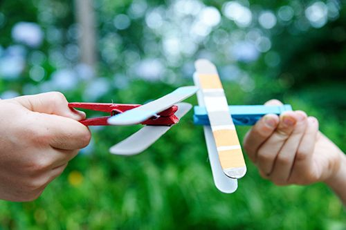 DIY Kids Crafts - Clothes Pin Airplanes and Helicopters!