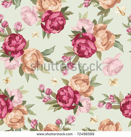 Beautiful Seamless Color Peony Pattern On Green Background, Vector Illustration - 72498589 : Shutterstock