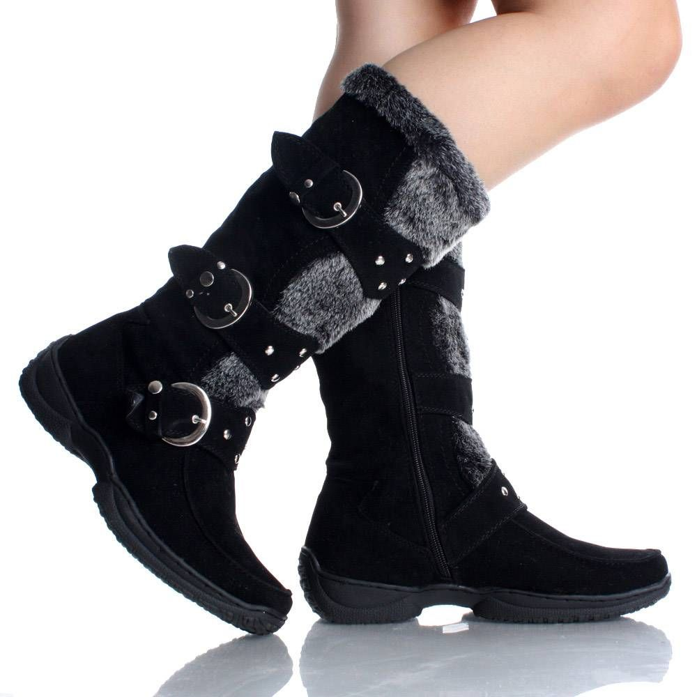 Womens Winter Boots Snow Black Flat Studded Buckle Cute Faux Suede ...