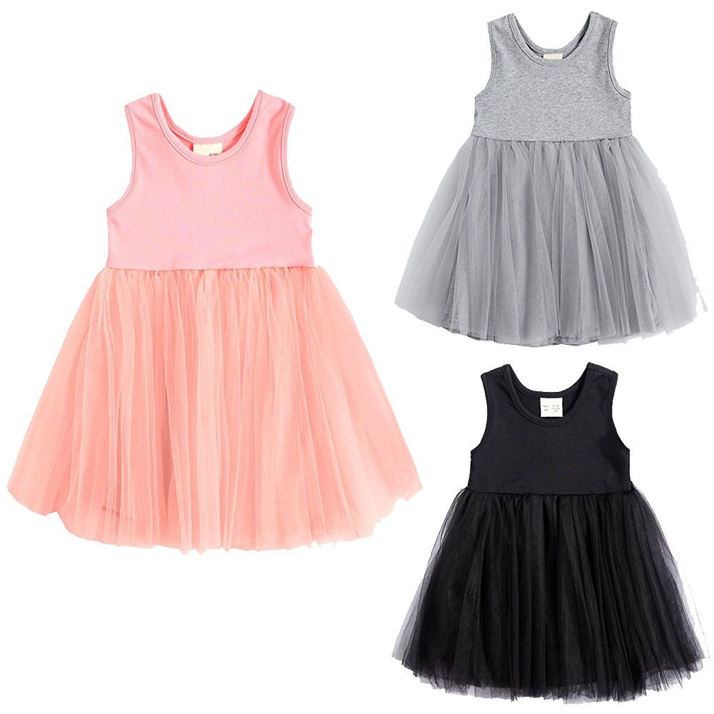 Click to buy ucuc cute solid sleeveless lace girls princess dress kid