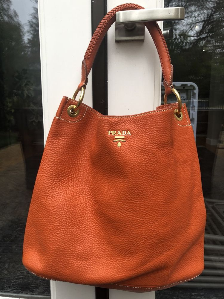 bc5fb1fc084581 Authentic Vitello Daino Prada Shoulder/Hobo Bag - Papaya Gold - Pristine@ ebay @pinterest #shoulder #money #bags #prada #carrying