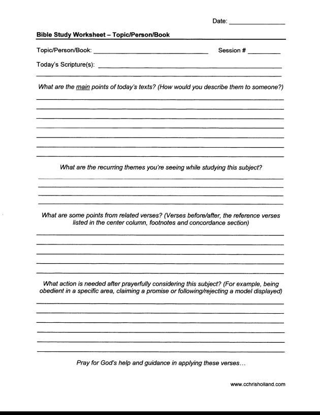 Bible Study Worksheet - Topic-Person-Book | Daily KJV Bible