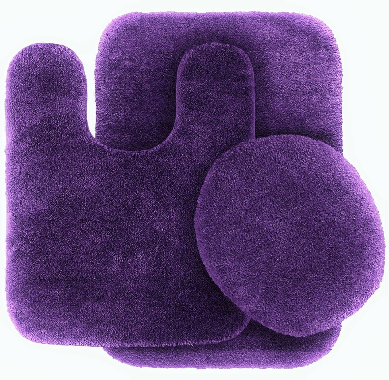 Solid Assorted Colors Bath Rug Contour Mat Toilet Lid Cover Bathroom Set 3pc 6 Purple Bathrooms Purple Bathroom Decor Bath Mat Rug [ 1465 x 1500 Pixel ]