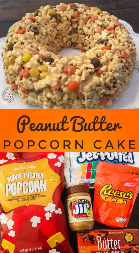Peanut Butter Popcorn Cake Peanut Butter Popcorn Cake is a fun recipe to make with kids this fall! It is the perfect treat to take to a Halloween Party or Thanksgiving Feast!
