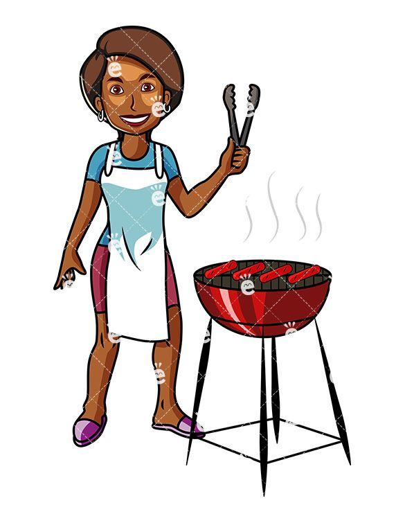 African American Woman Grilling Hot Dogs Cartoon Vector Clipart Friendlystock Grilling Hot Dogs Hot Dogs Healthy Dog Food Recipes