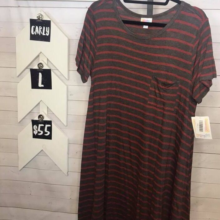 Lularoe Carly Charcoal With Burgandy Stripes