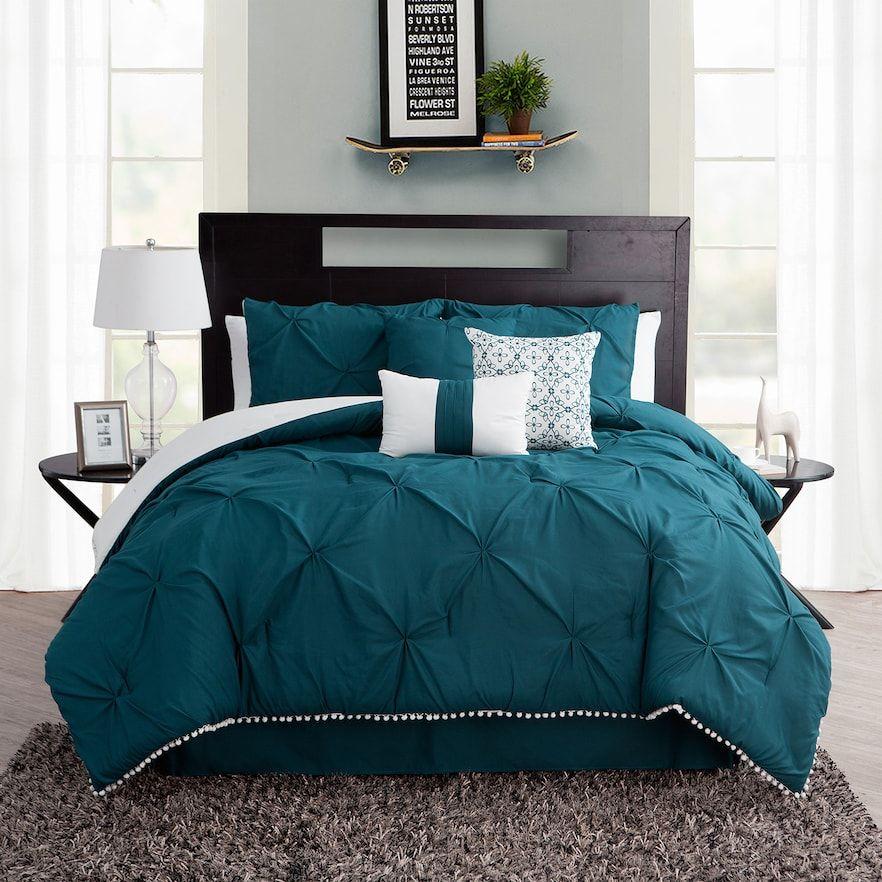 Ruffled Kiss Pleat 7 Piece Comforter Set Comforter Sets Ruffle Comforter Queen Comforter Sets