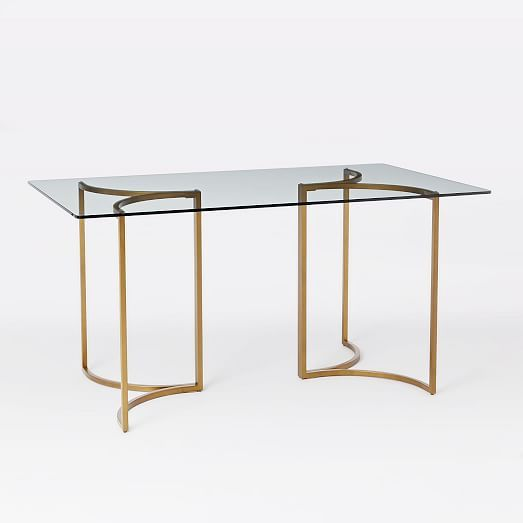 Carraway Dining Table West Elm Contemporary Hollywood Regency - West elm glass top dining table