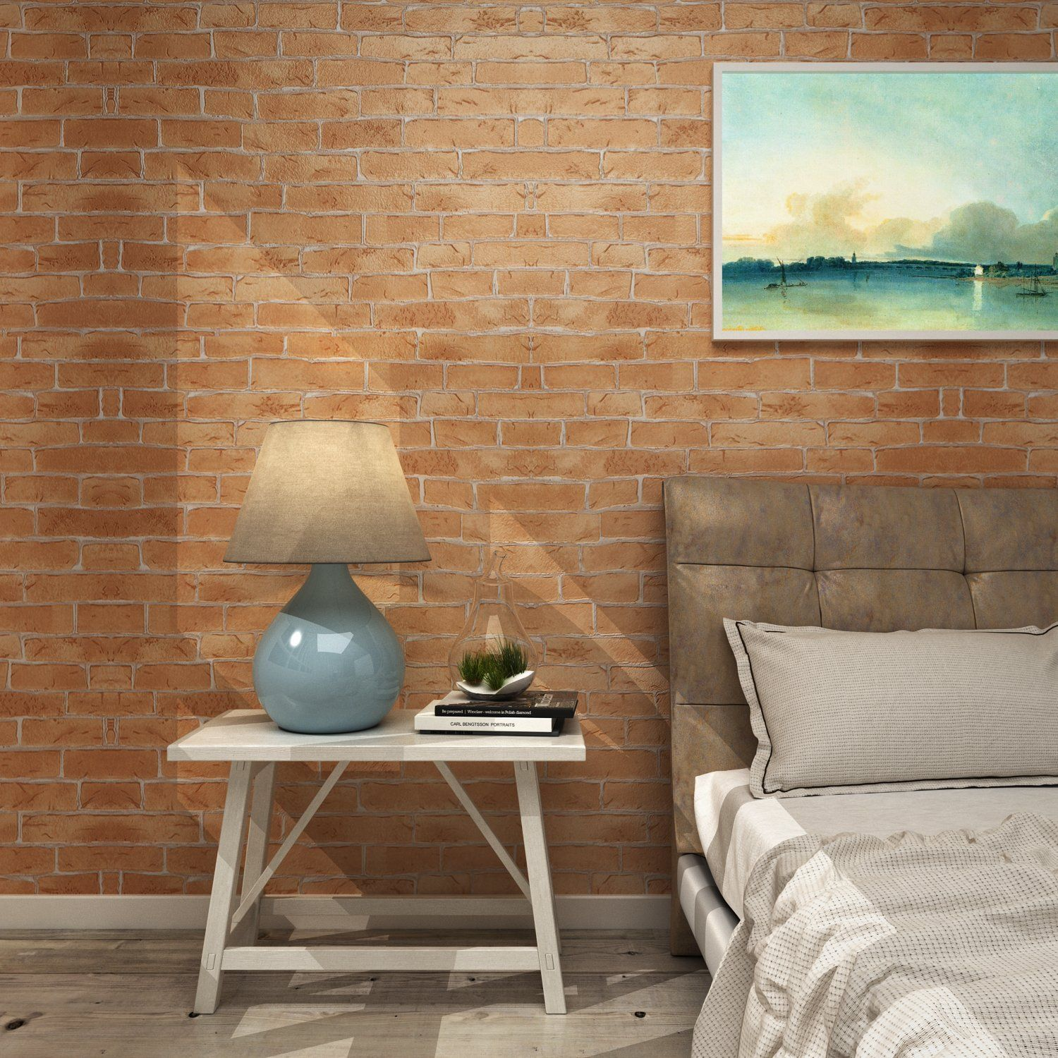 Homdox Wallpaper Modern Faux Brick Stone Textured Wallpaper 3D