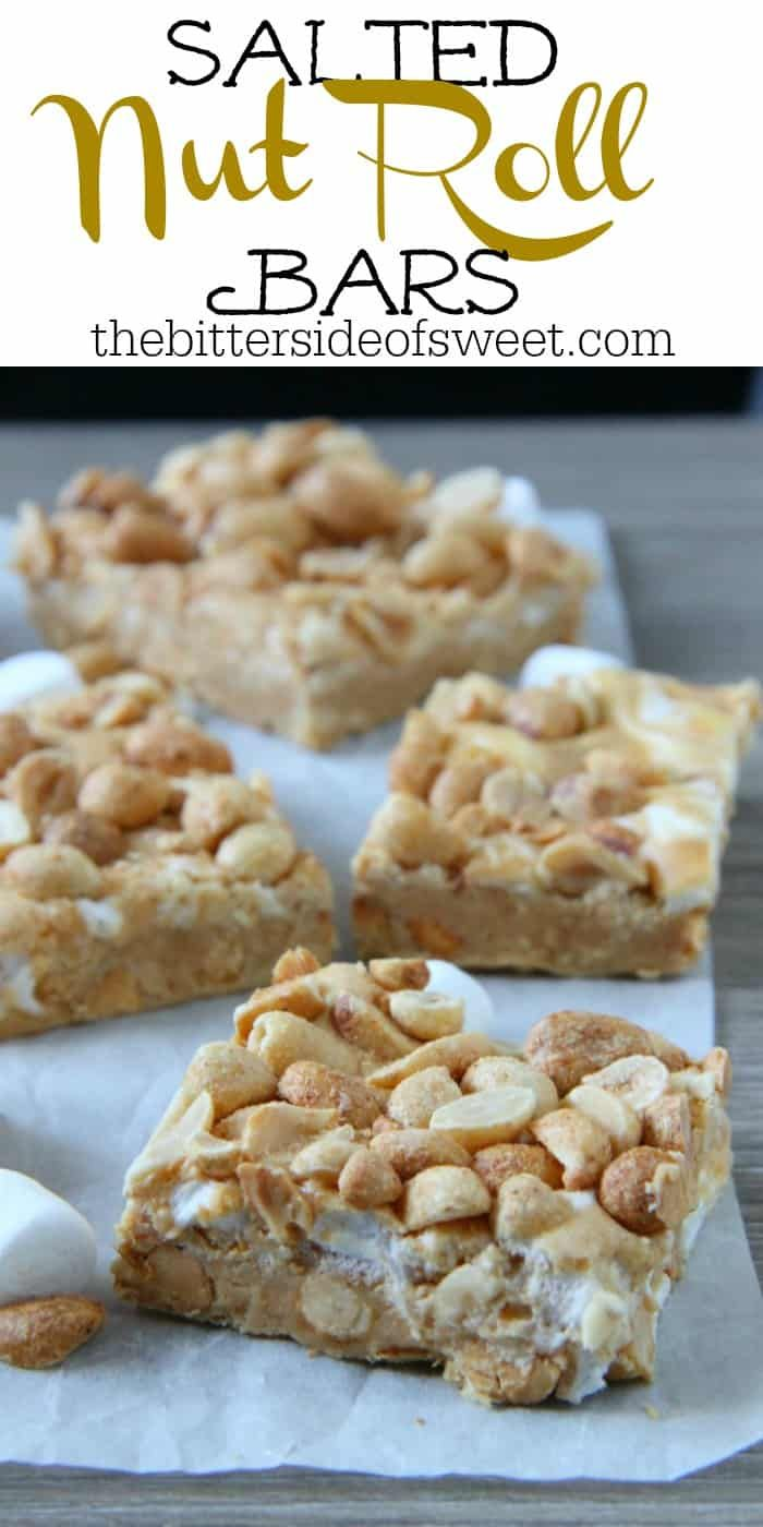 Salted Nut Roll Bars #peanutrecipes
