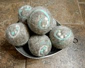 Ovella Wool Dryer Balls, The Lixo Vira-Lata Collection. Set of (6) six. Sugar skull, brown, grey, reusable, natural, unscented, unique - pinned by pin4etsy.com