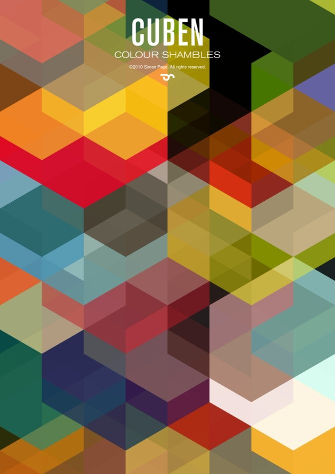 """Cuben. """"Simon C Page is one of the UK's leading graphic designers and artists. His use of geometric shapes, patterns, typography and colour blend effortlessly and brilliantly"""" NYT 2012"""