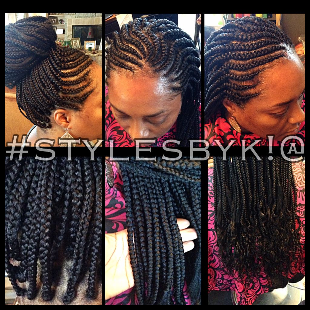 Ghana cornrows with box braids wavy ends with xpressions ultra