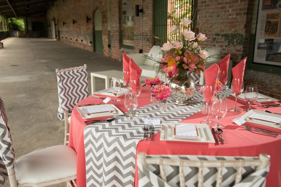 Preppy Coral And Gray Wedding Tabletop From Flowers By