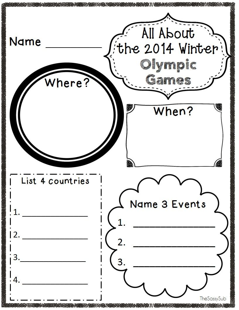 20 No Prep Printables About The Winter Games Winter Olympics Olympic Lessons Olympics [ 1056 x 816 Pixel ]