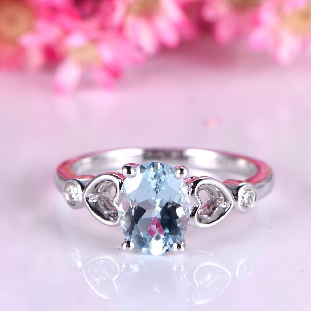 Aquamarine engagement ring 6x8mm oval cut VS aquamarine ring heart ...