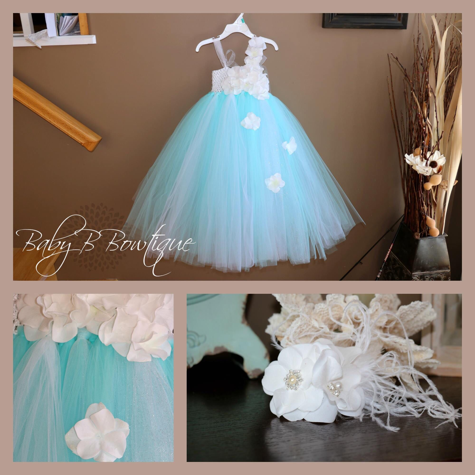 White Wedding Gown Hydrangea: Hydrangea White And Aqua Tutu Dress