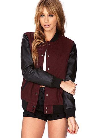 312c38964 Varsity Jackets | WOMEN | Forever 21 | Want | Varsity jacket outfit ...