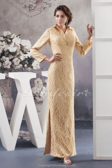 The Green Guide A Line High Neck Floor Length Long Sleeve Lace Dress Bd41027 Us 134 99