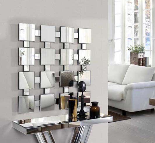 Espejos modernos de cristal tetra decoracion beltran tu for Espejos de sala modernos