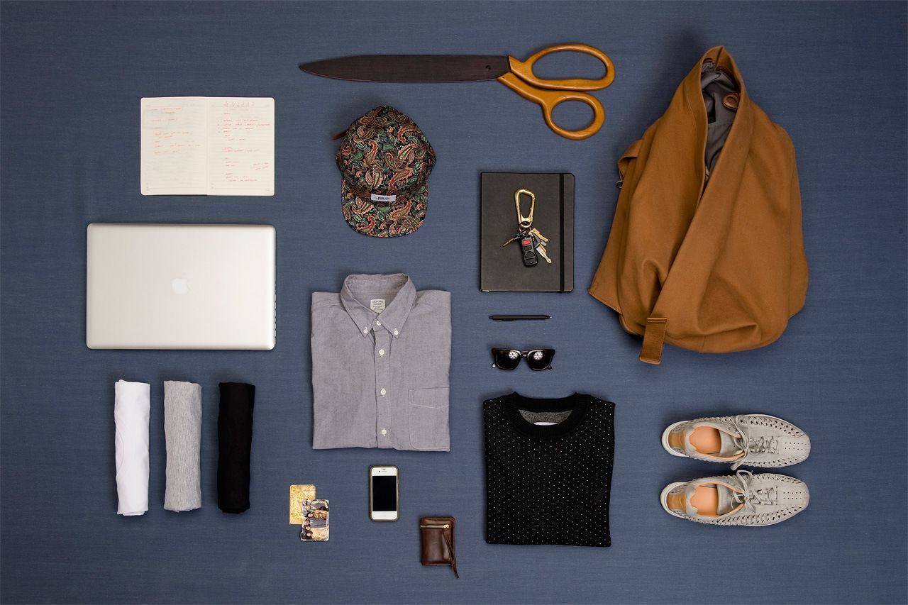 flatlay of essential closet pieces for men