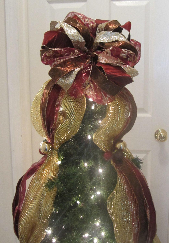 Christmas Tree Topper Bow, Deco Mesh & Ribbon, Balls, Old