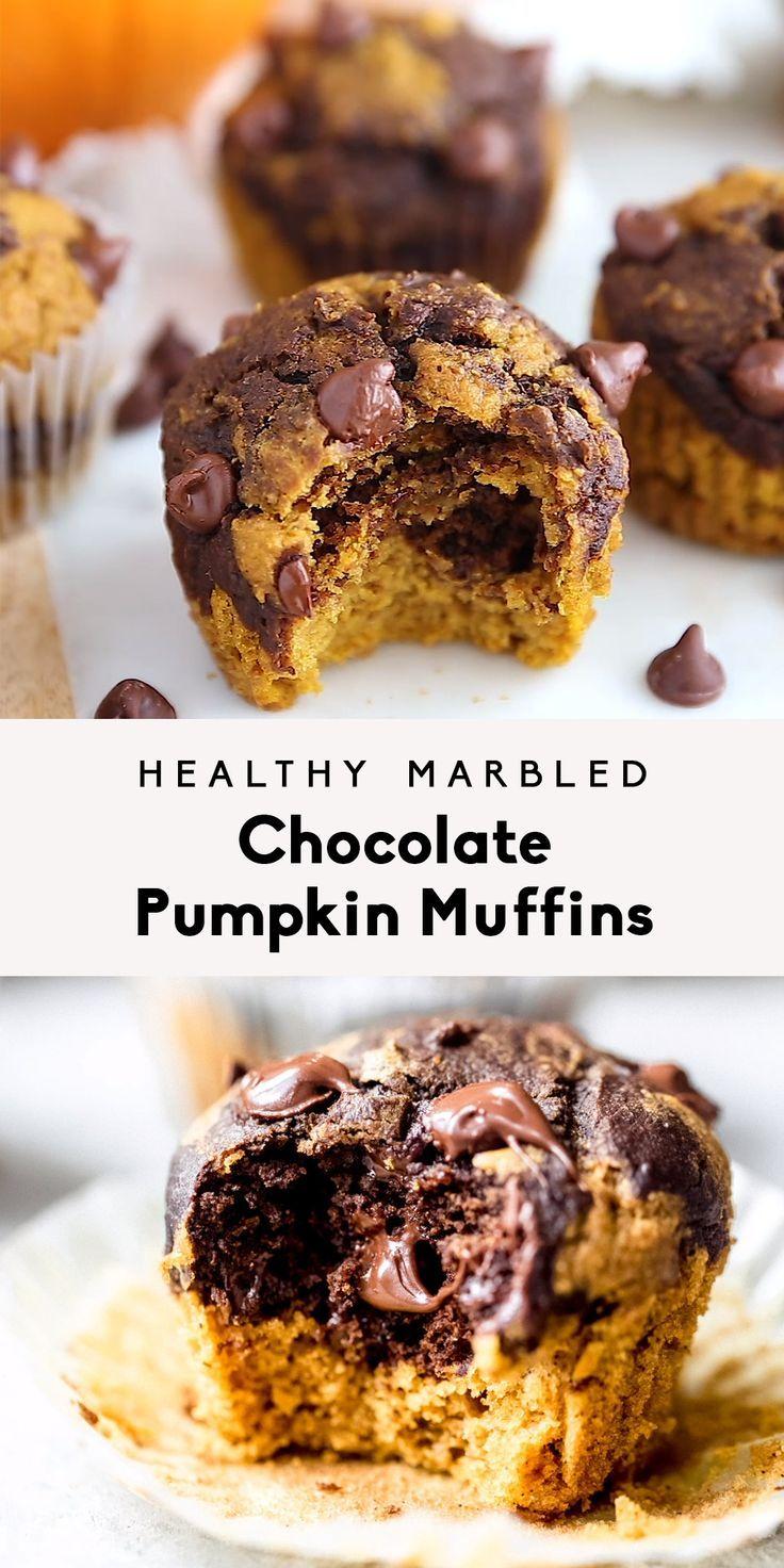 Healthy Marbled Chocolate Pumpkin Muffins | Ambitious Kitchen #pumpkinmuffins
