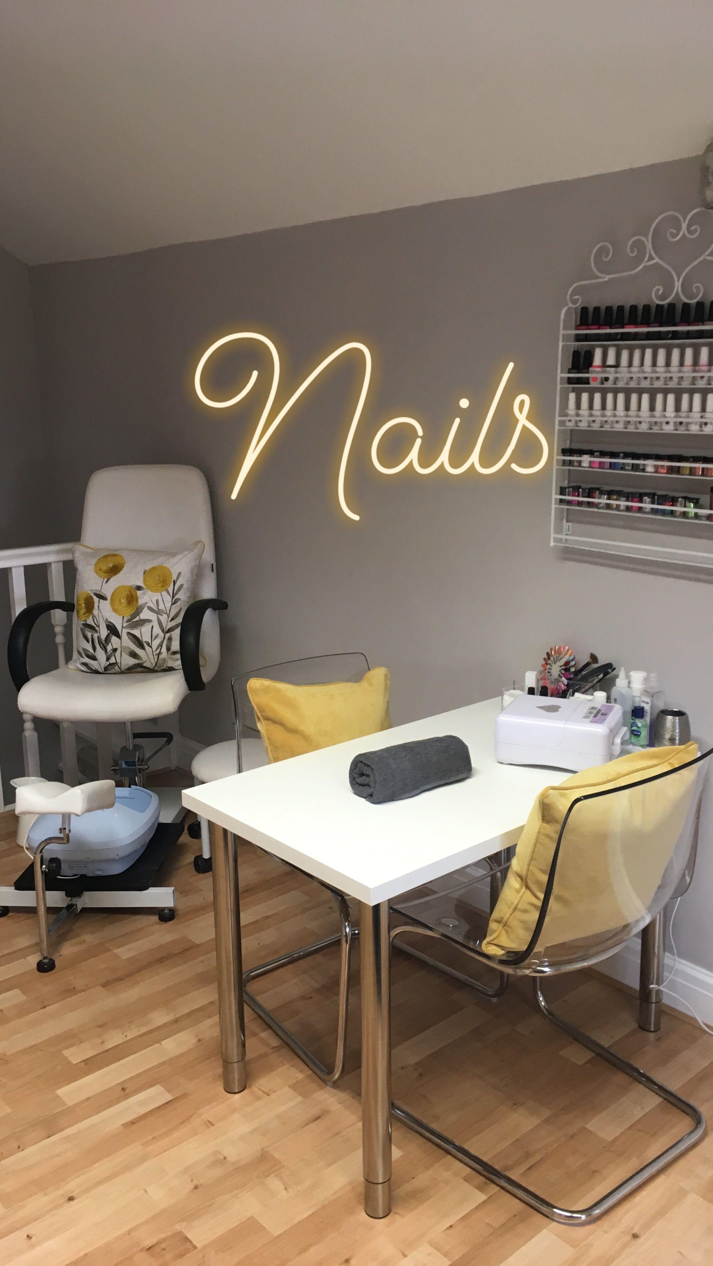 Lemon And Grey Nail And Pedicure Stations At My Salon Room Home Beauty Salon Beauty Salon Decor Home Nail Salon