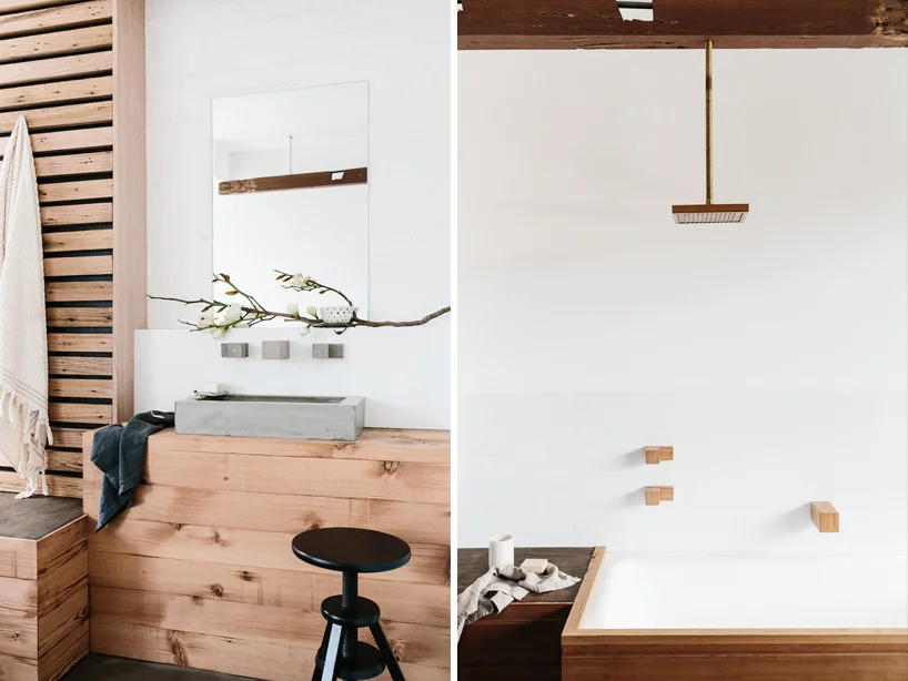 Photo of Wood Melbourne craft wood, brass + concrete bathroom fittings