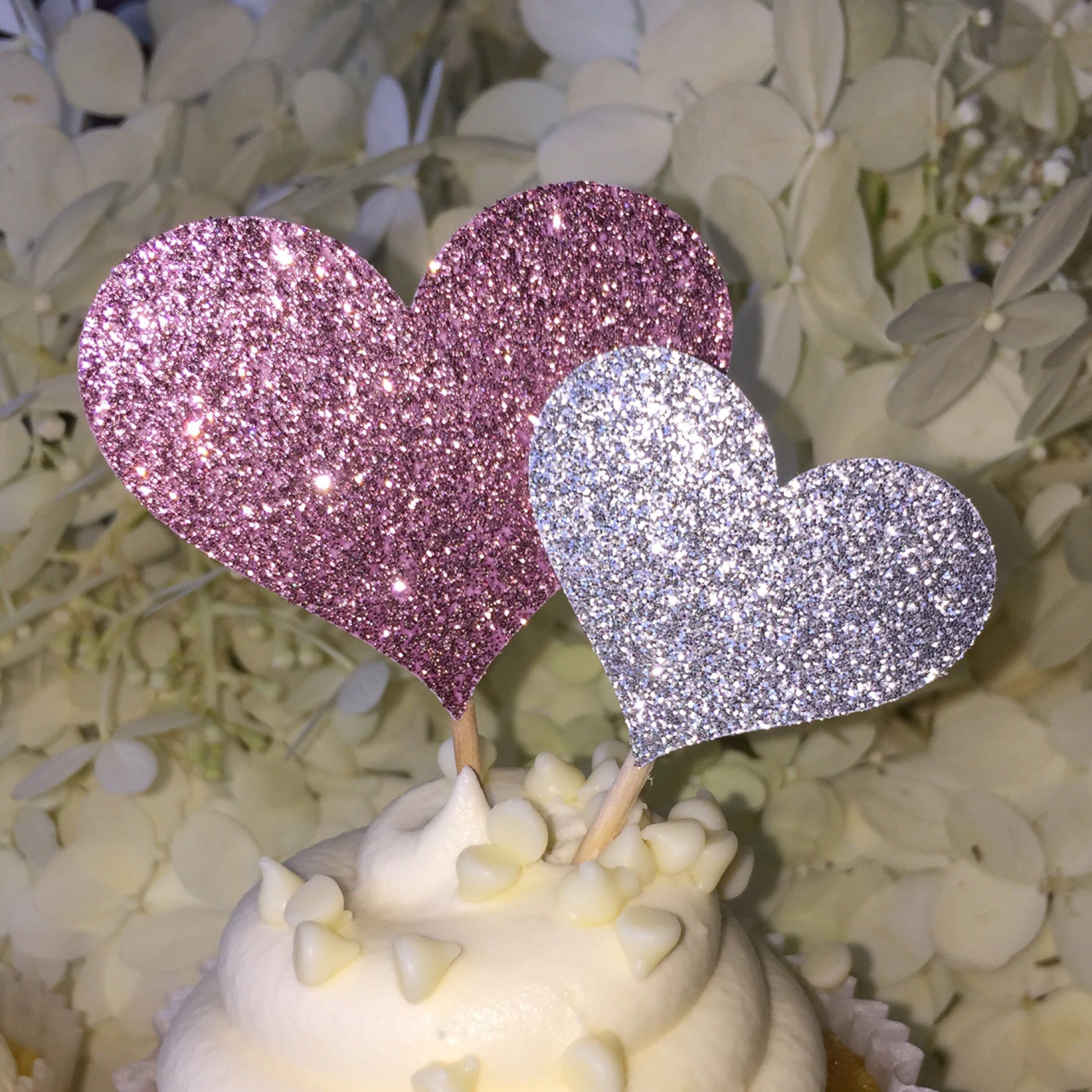 12 Silver Heart Cupcake Toppers Cake Toppers Wedding Cake