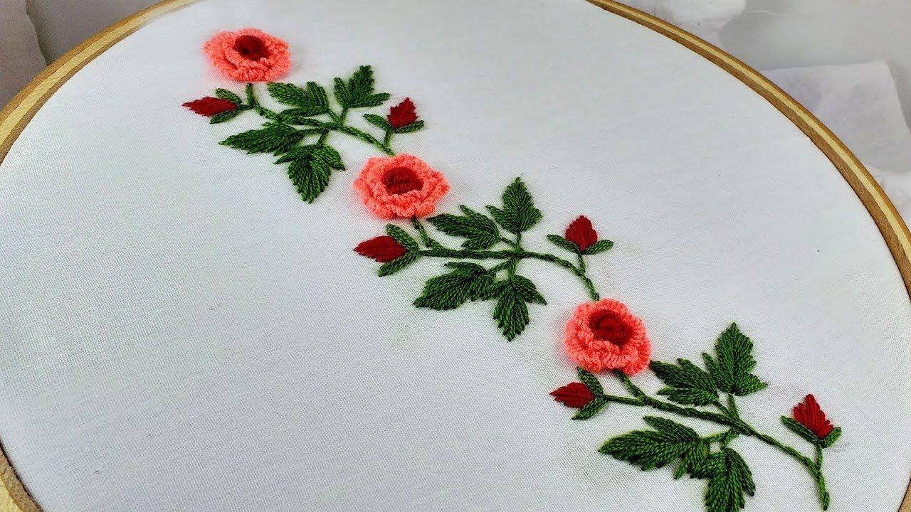 Hand Embroidery Beautiful Border Line Design Brazilian Stitch Rose Newborn Crochet Hat Pattern French Knot Embroidery Crochet Flowers Free Pattern