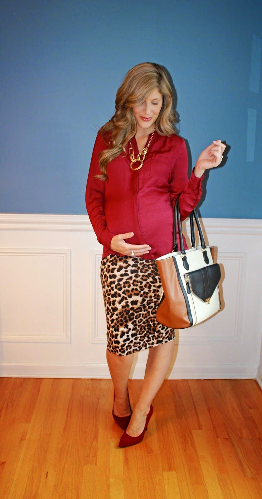 6e33f30170880 Outfitted411  Animal Business...maternity fashion leopard print pencil skirt