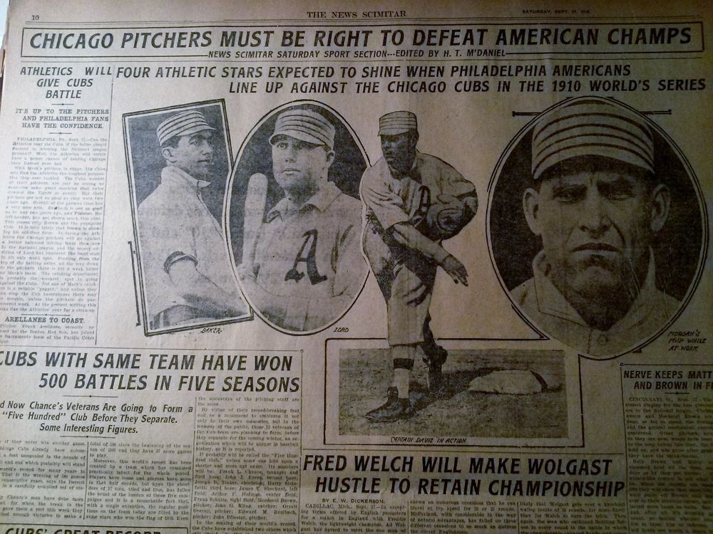 SEPT 17, 1910 NEWSPAPER PAGE #2637- PHILA ATHLETICS / CHICAGO CUBS BASEBALL