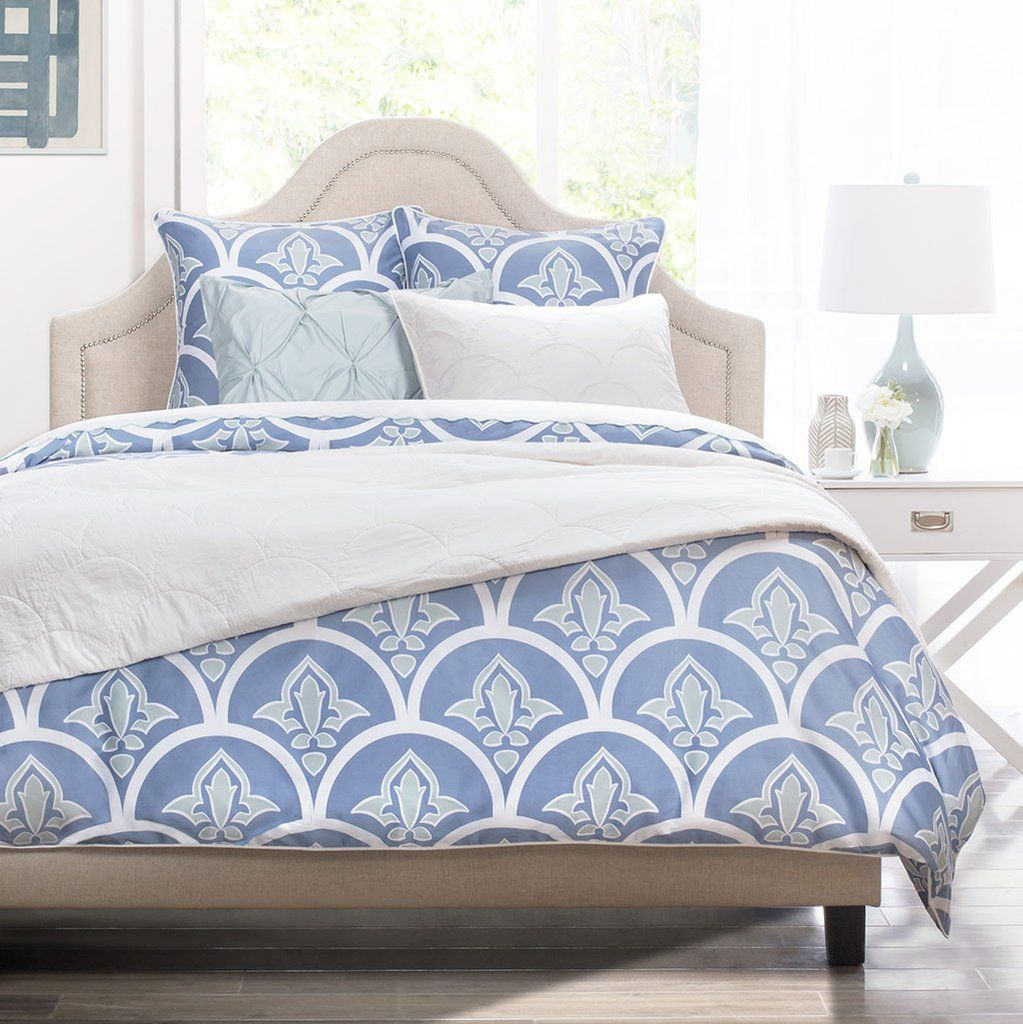shop blue and green bedding from crane canopy the clementina blue complete with a scalloped fleur de lis pattern brings chic coastal style to any