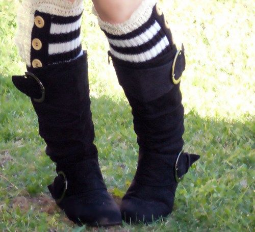 Ellie lace trim knit boot socks with button, leg warmers black white | valkinthreads - Accessories on ArtFire