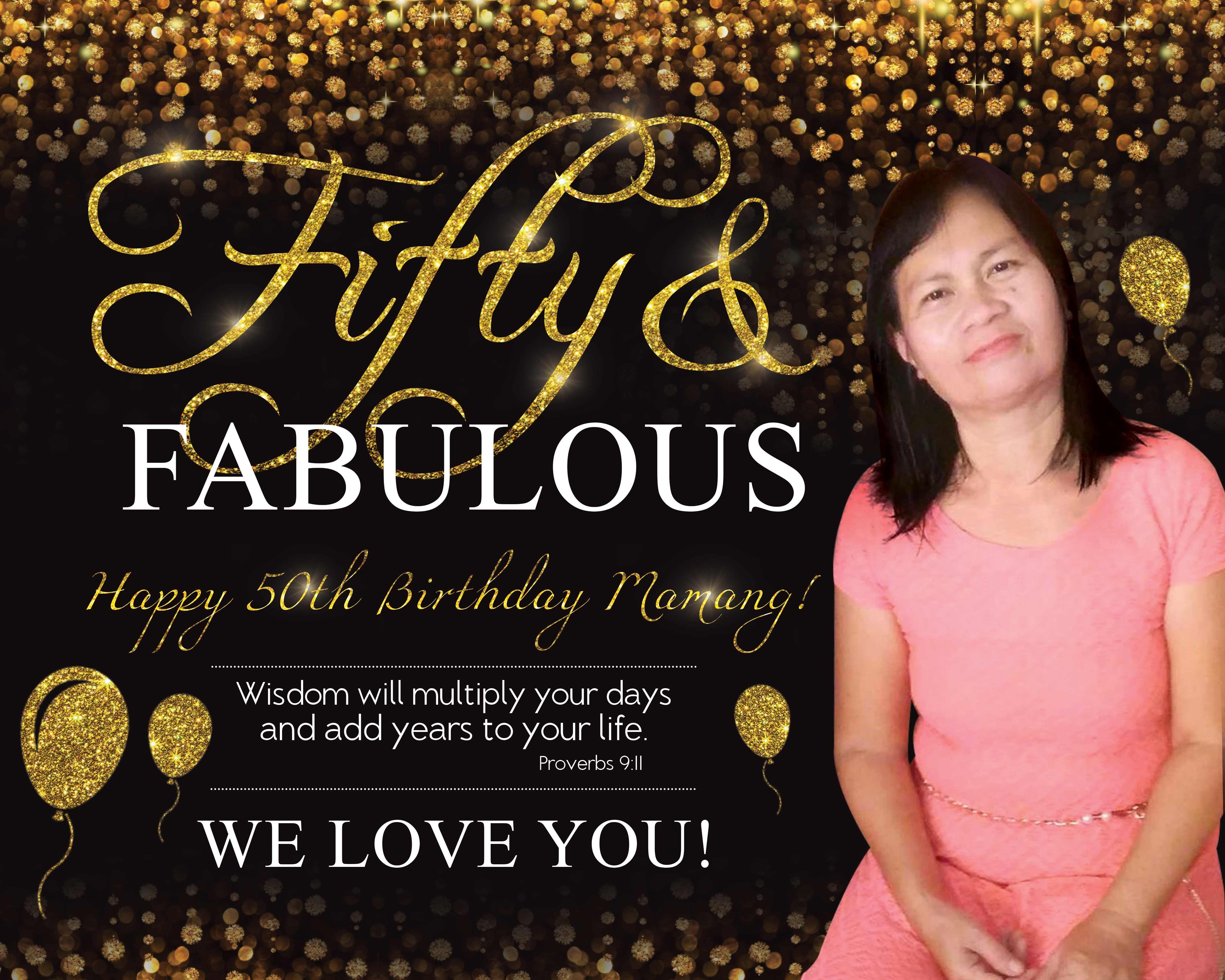 Elegant Birthday Tarpaulin 50th Birthday Gold Birthday Tarpaulin