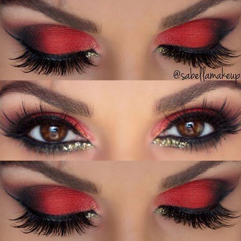 Make-up Augen Lidschatten rot schwarz amzn.to/2s3Nma1, #amznto2s3Nma1 #Augen #Lidschatten #M...