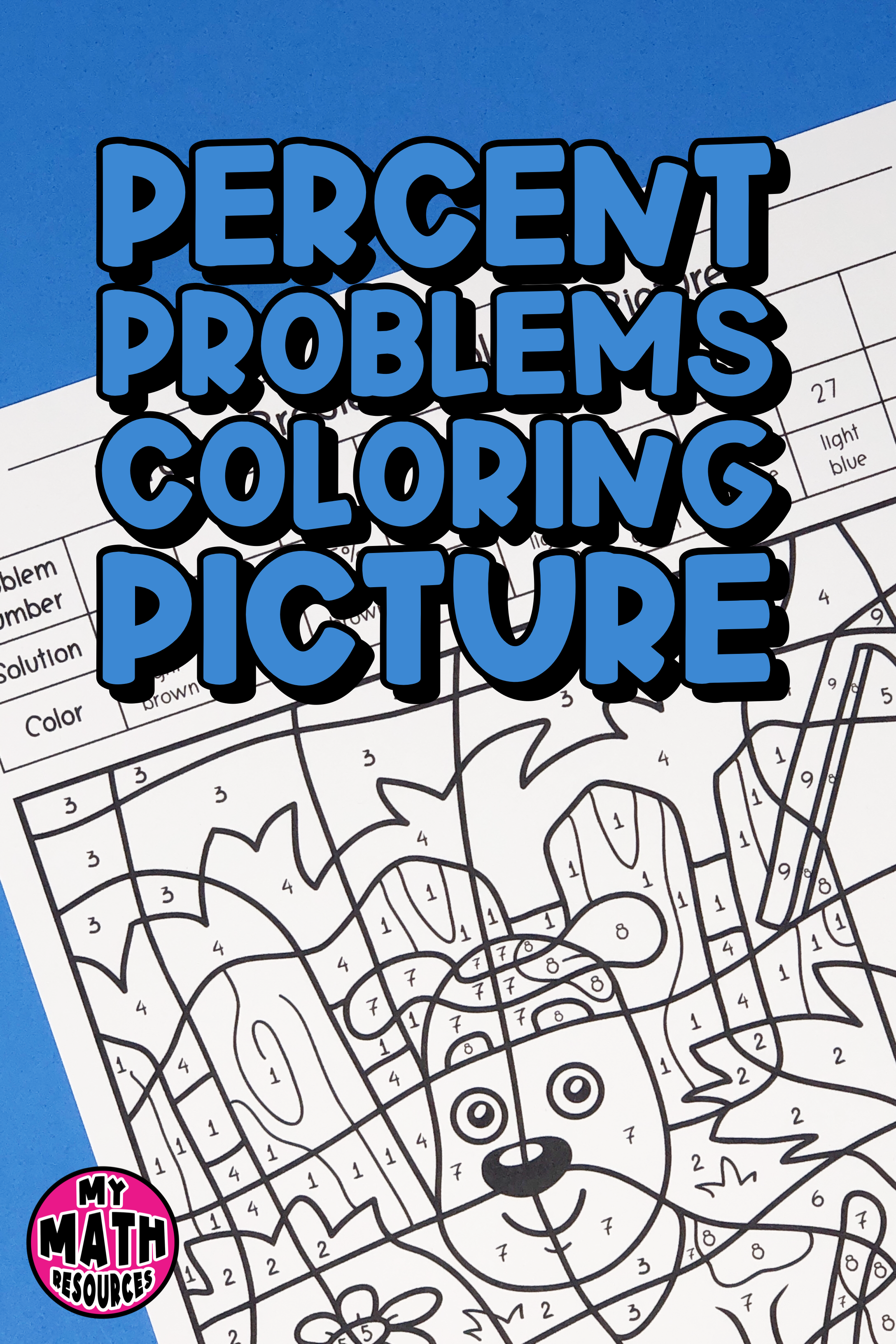 My Math Resources - Percent Problems Coloring Picture Worksheet   Middle  school math teacher [ 3264 x 2176 Pixel ]