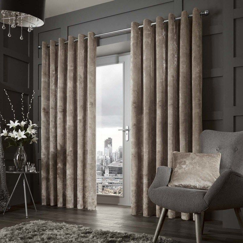 Downton Luxury Ready Made Lined Eyelet Curtains Mink
